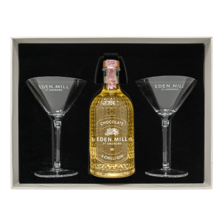 Chocolate & Chilli Gin 50CL Martini Glass Gift Set | Eden Mill Distillery St Andrews