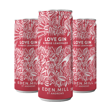 Love Gin And Rose Lemonade Pre-Mixed Cans (12 pack) | Eden Mill Distillery St Andrews
