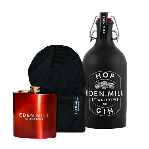 Hop Gin, Hip Flask & Black Beanie Hat  | Eden Mill Distillery St Andrews