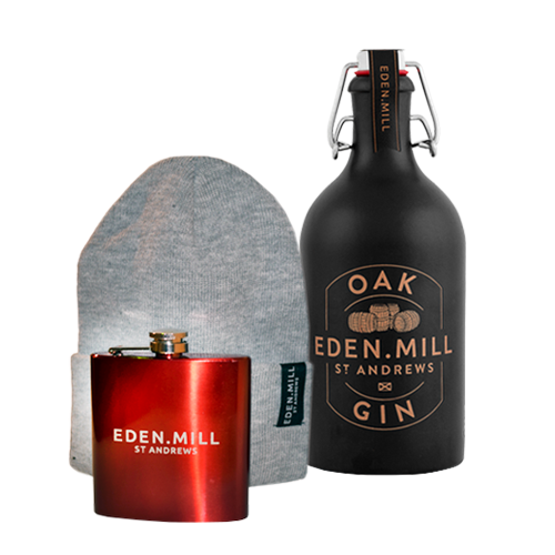 Oak Gin, Hip Flask Grey Beanie Hat | Eden Mill Distillery St Andrews